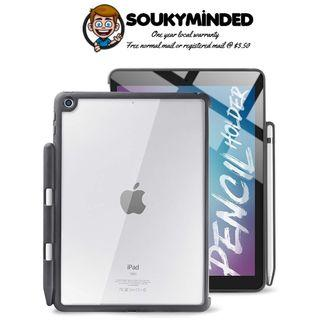 [IN-STOCK] DinoCase iPad 9.7 Case with Pencil Holder, Hybrid Transparent Back Cover, Slim and Thin, 2018/2017 9.7 inch, Compatible with Smart Cover (Black/Clear)