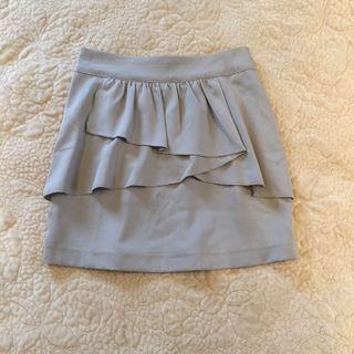 🚚 灰色鬆緊荷葉邊短裙