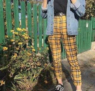 lf yellow plaid pants