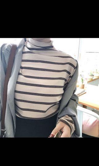 時尚個性條紋T恤 半高領長袖百搭顯瘦條紋打底衫