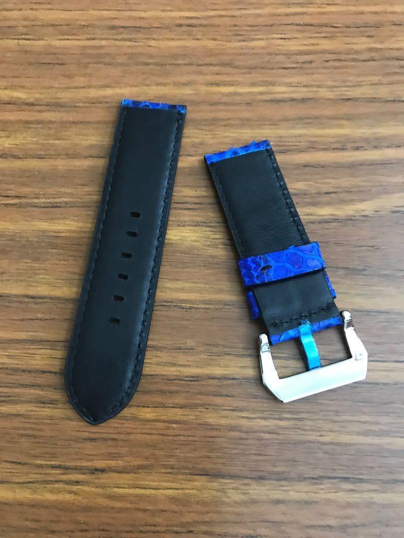 26mm/26mm Authentic Royal Blue Python Snake Watch Strap #MRTHougang #MRTSerangoon #MRTSengkang #MRTPunggol #MRTRaffles