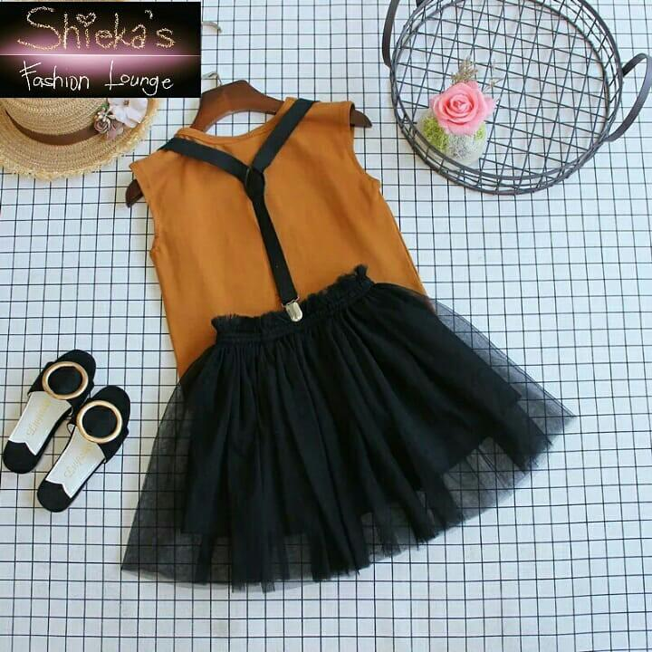 3 pcs girls outfit Brown Short Sleeve Black Tulle and Suspenders