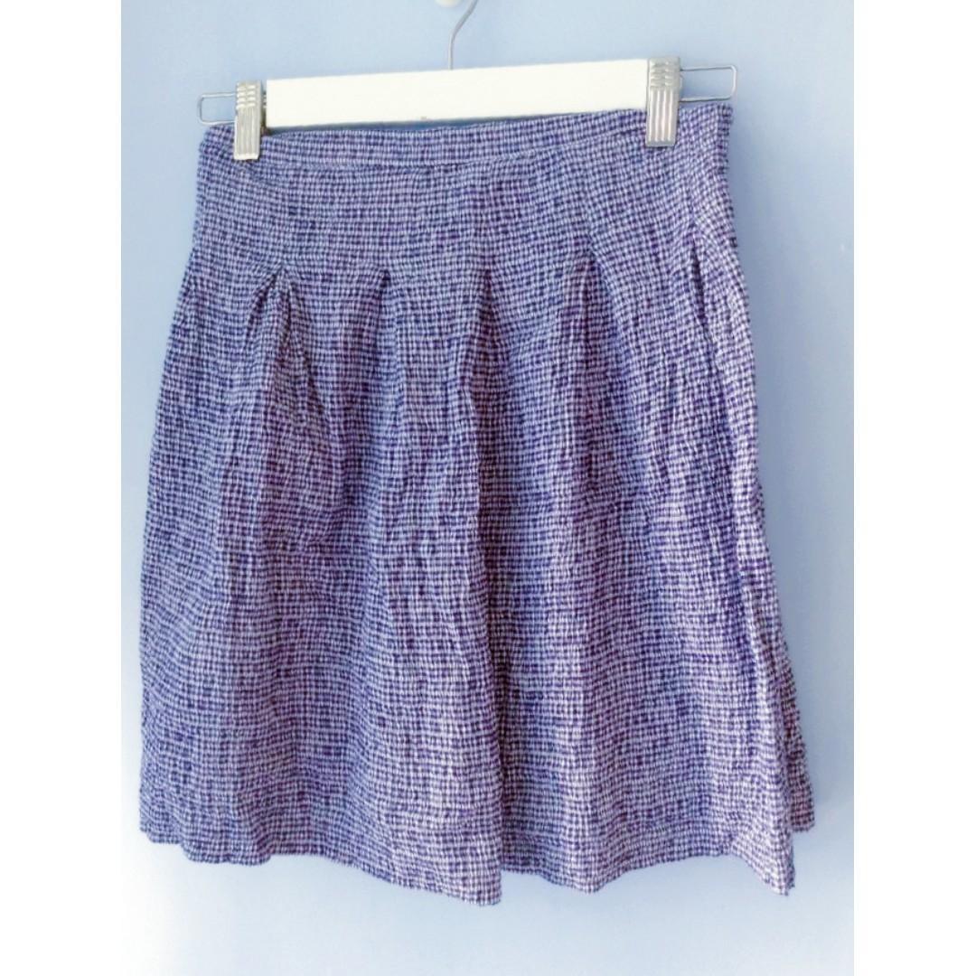 顯瘦幼格紋皺摺斯文半截裙(藍色)