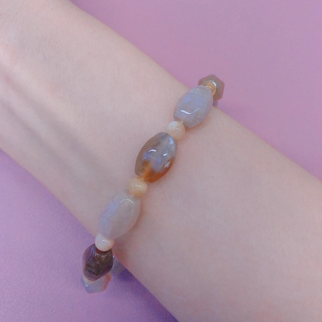 珊瑚玉六角米珠手鏈手鍊 手串15.5cm 12mm蜜糖多寶