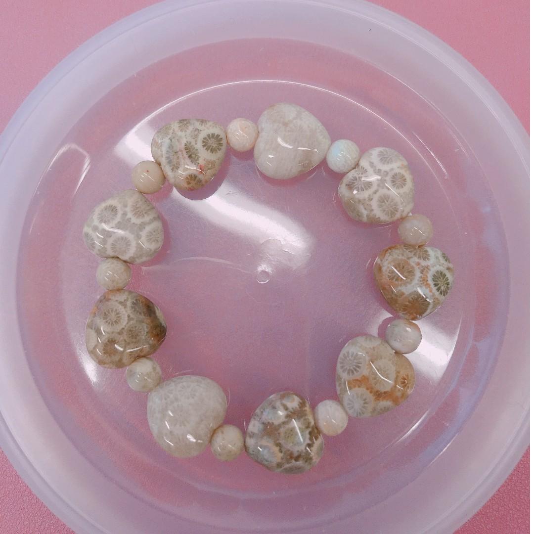 珊瑚玉心心手鏈手鍊 手串15cm 14mm 米杏黃 滿花