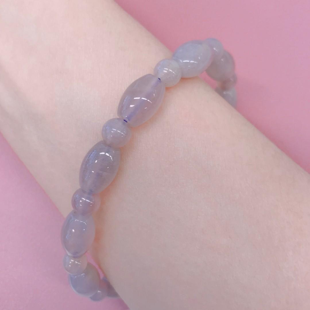 珊瑚玉米珠手鏈手鍊 手串17.5cm 12mm淡紫冰 帶蜜糖色