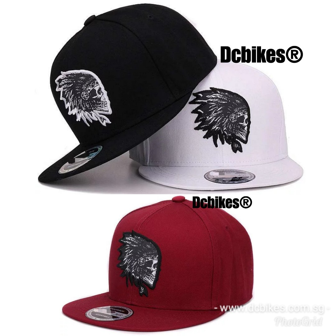 🆕! Indian Chief Skull Embroidery Snapback Stylo Trucker Cap Hat #Dcbikes  ✳️ Colours :White/Black/Maroon ✳️