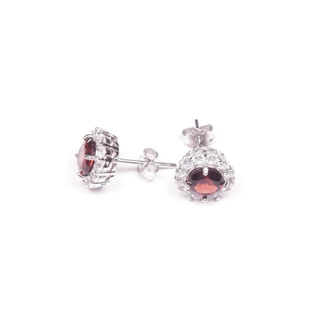 天然石榴石純銀耳環 Natural Garnet Silver Earrings 母親節禮物