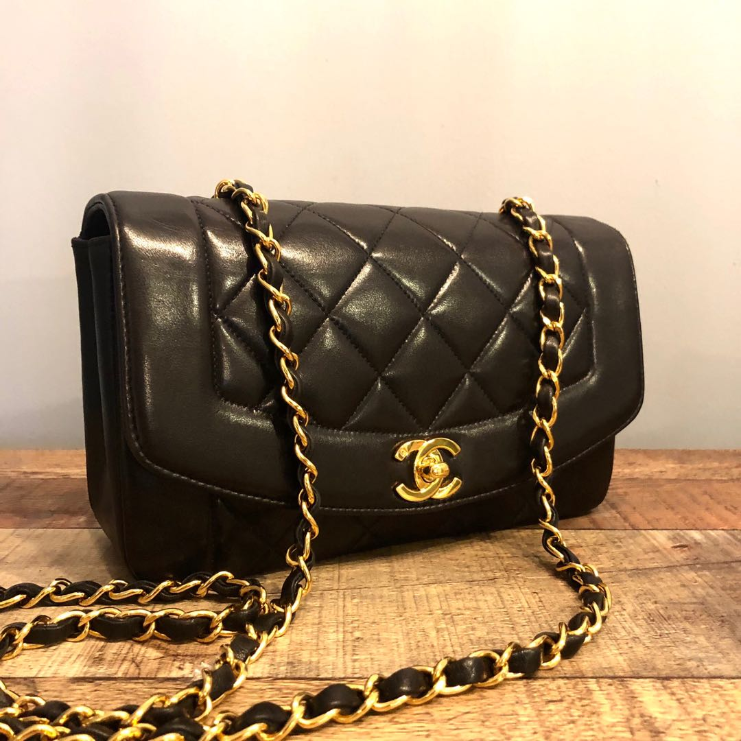 0ec75bf9f9a1fb Authentic Chanel 9 Inch Diana Flap with 24k Gold Hardware, Luxury ...