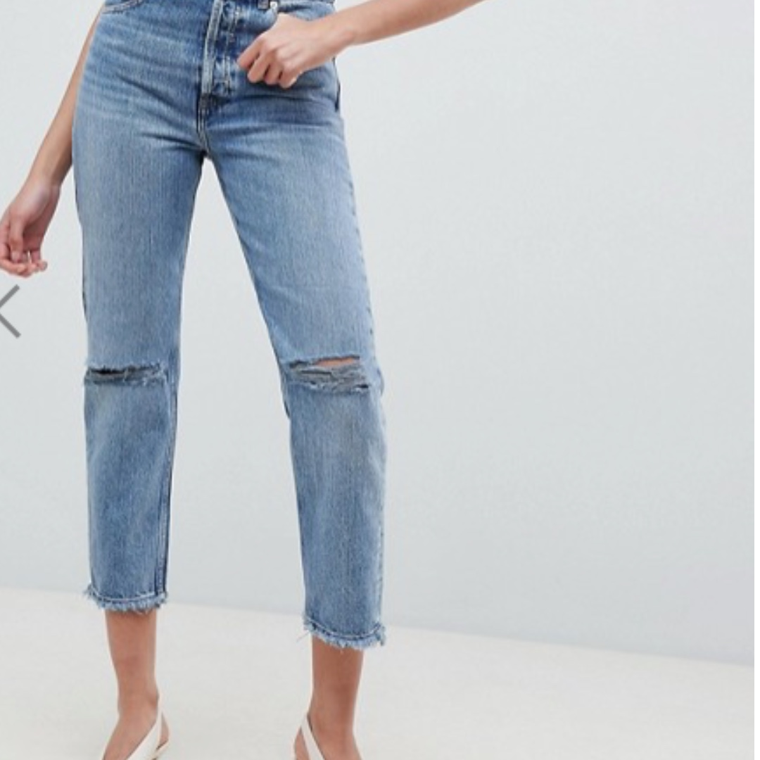good service new style outlet BNIB ASOS Design Recycled Florence authentic straight leg jeans in spring  light stone wash with rips