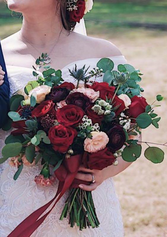 Bridal Bouquet in Rustic Red Burgundy Flowers