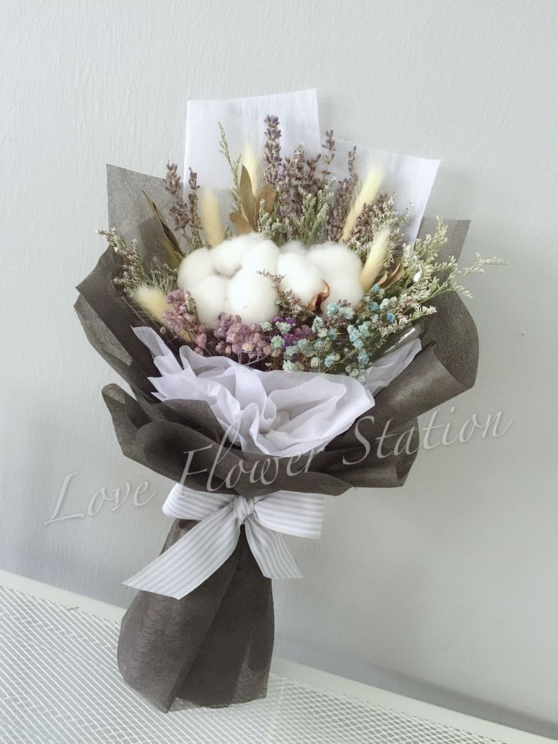 Cotton With Lavender Dried Flower Bouquet Graduation Flower Bouquet Mother S Day Flower Bouquet Birthday Flower Gardening Flowers Bouquets On Carousell
