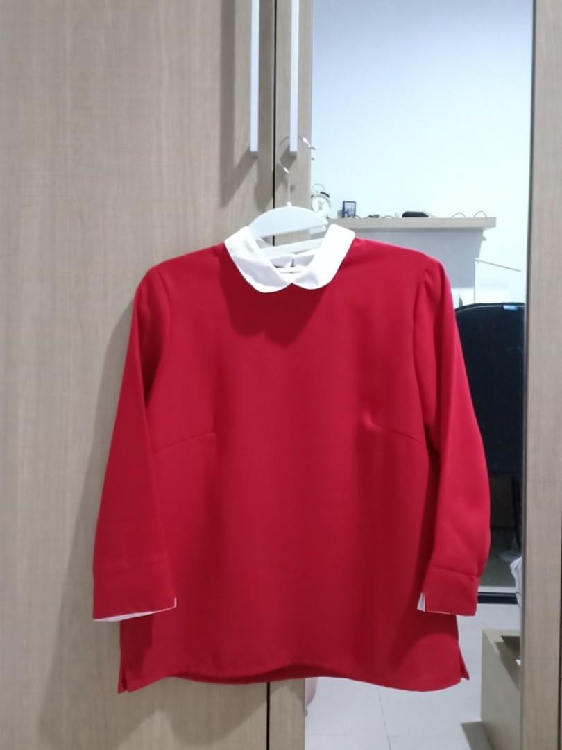 COTTONINK Blouse Merah
