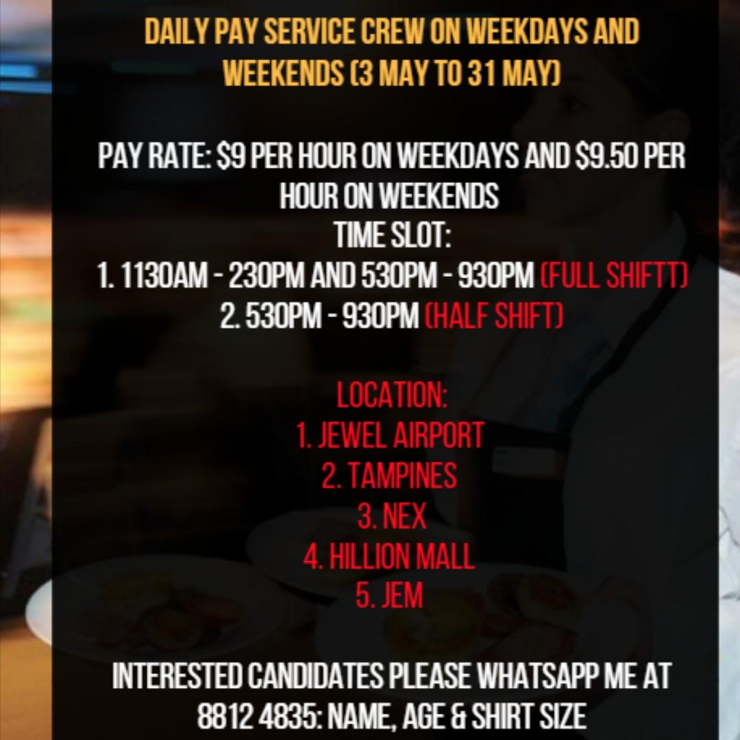 DAILY PAY SERVICE CREW X 5 (FROM 3 MAY TO 31 MAY 2019