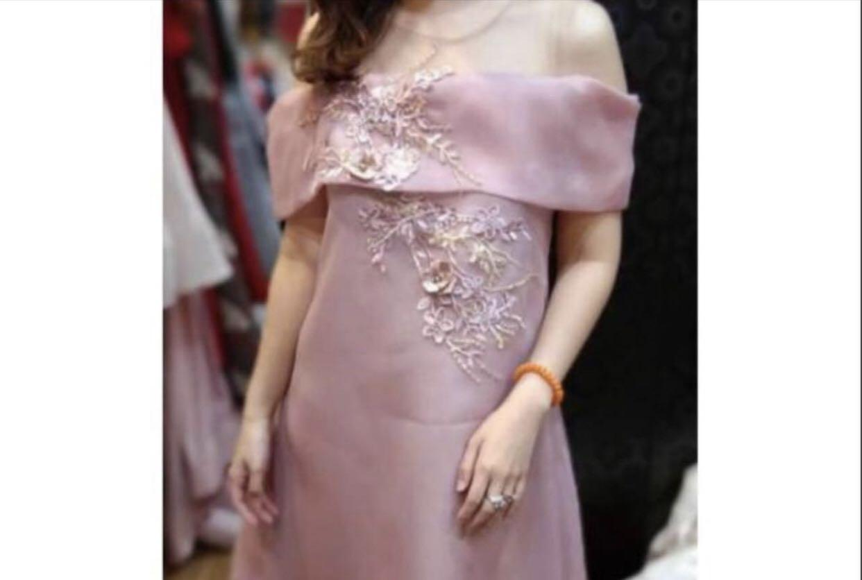 Dress pesta brokat pink nude elegan