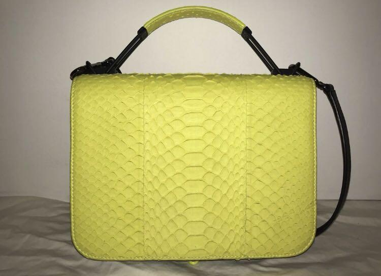 Emilio Pucci Leather-Trimmed Neon Python Shoulder Bag