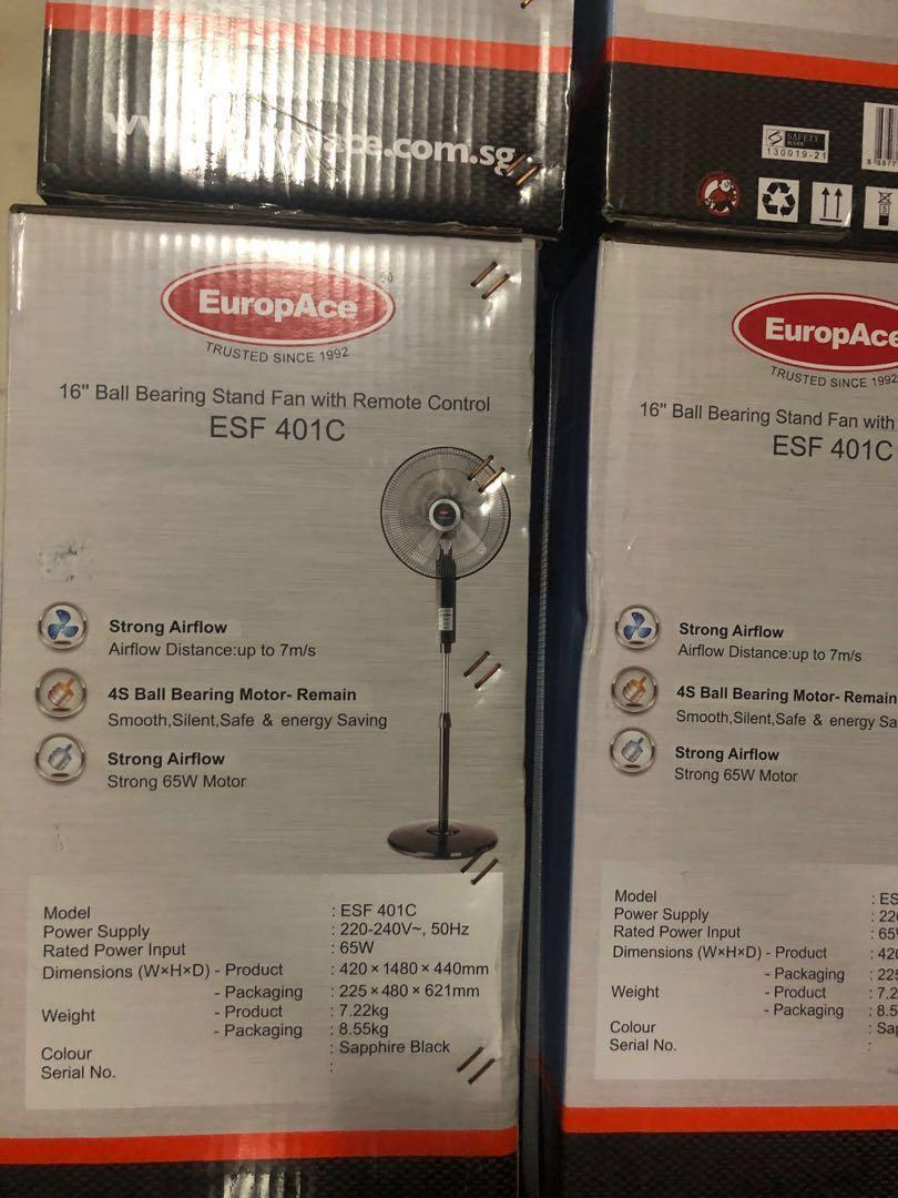 Europace Stand Fan with remote control