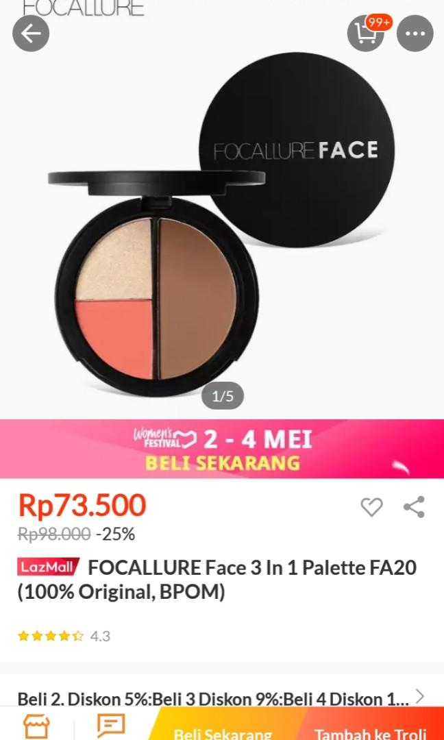 Focallure 3 IN 1 (Hightlighter, Countour, Blush)