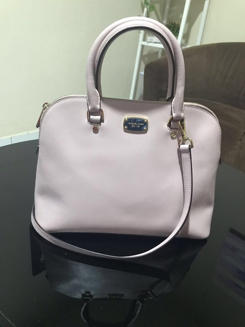 ce981cd8609b MK Dome Cindy Saffiano Leather Satchel, Women's Fashion, Bags ...