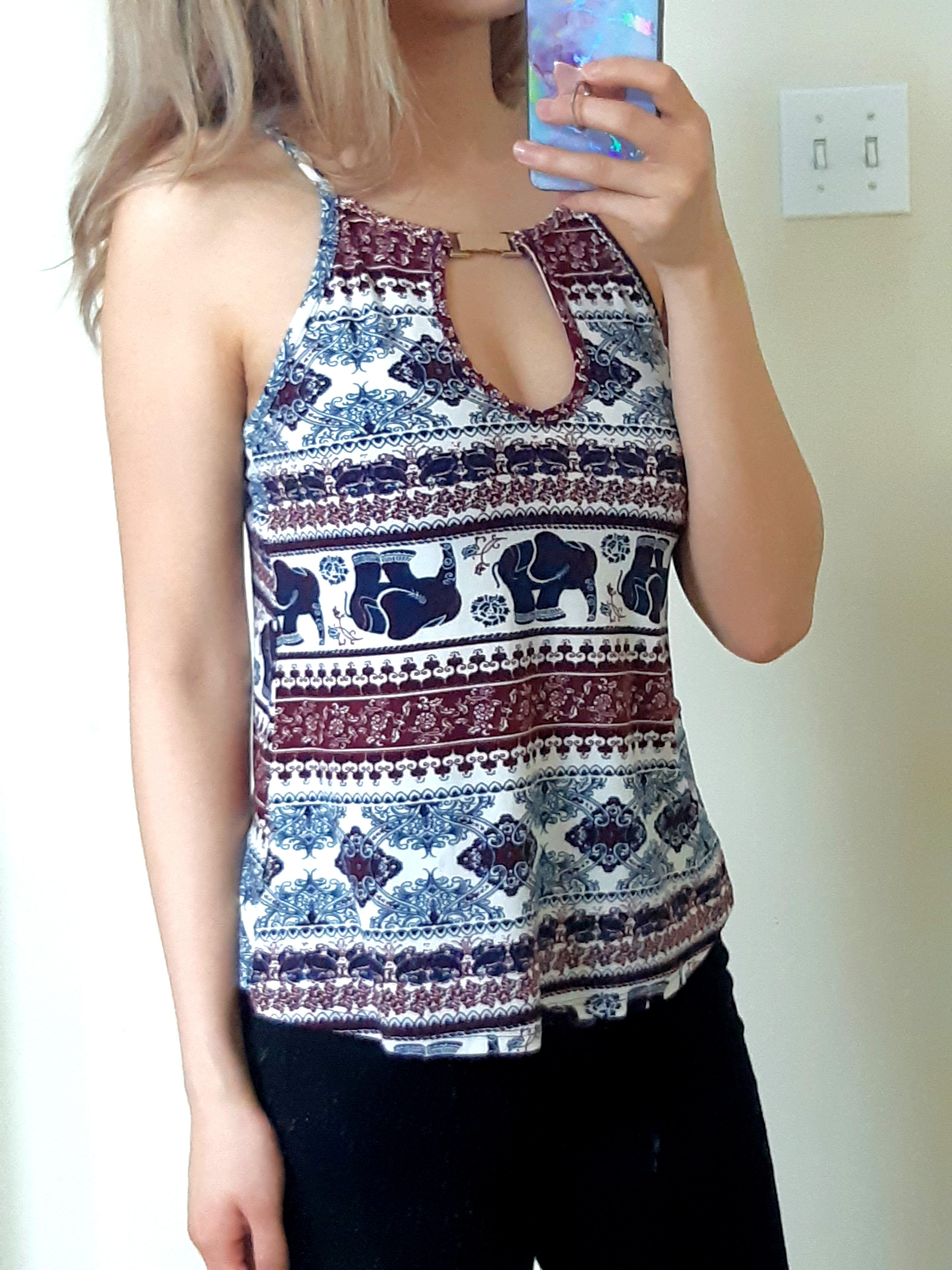NEW Elephant Patterned Top