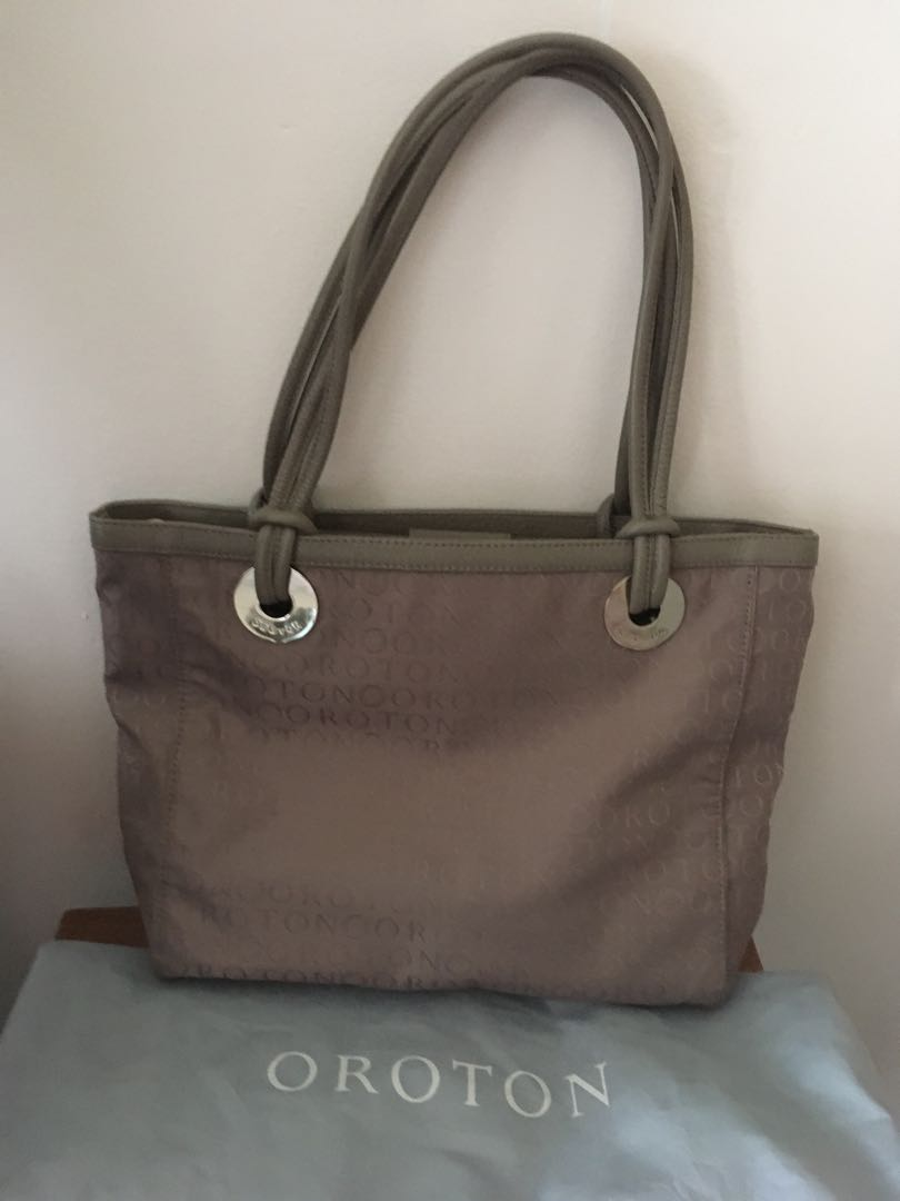 Oroton Stencil Tote in taupe - BNWTS $495 Large size