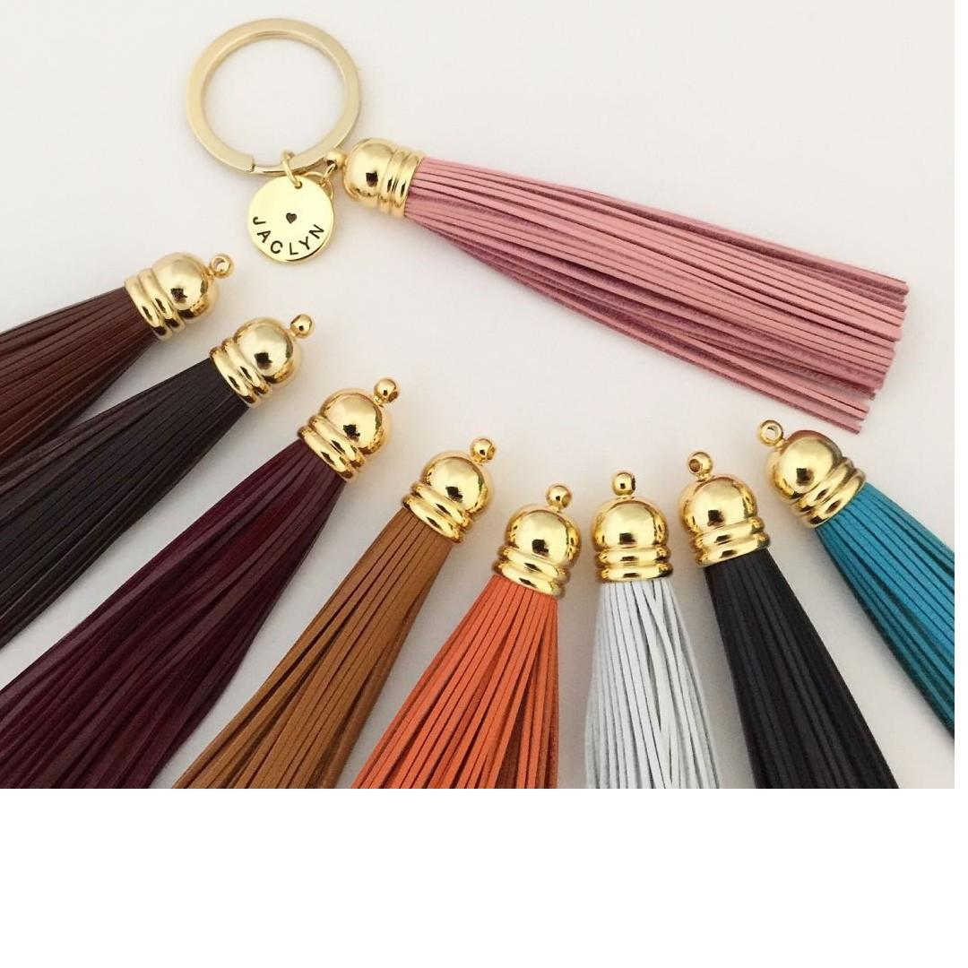 Personalised Leather Tassel Hand Stamp Name Disc Keychain
