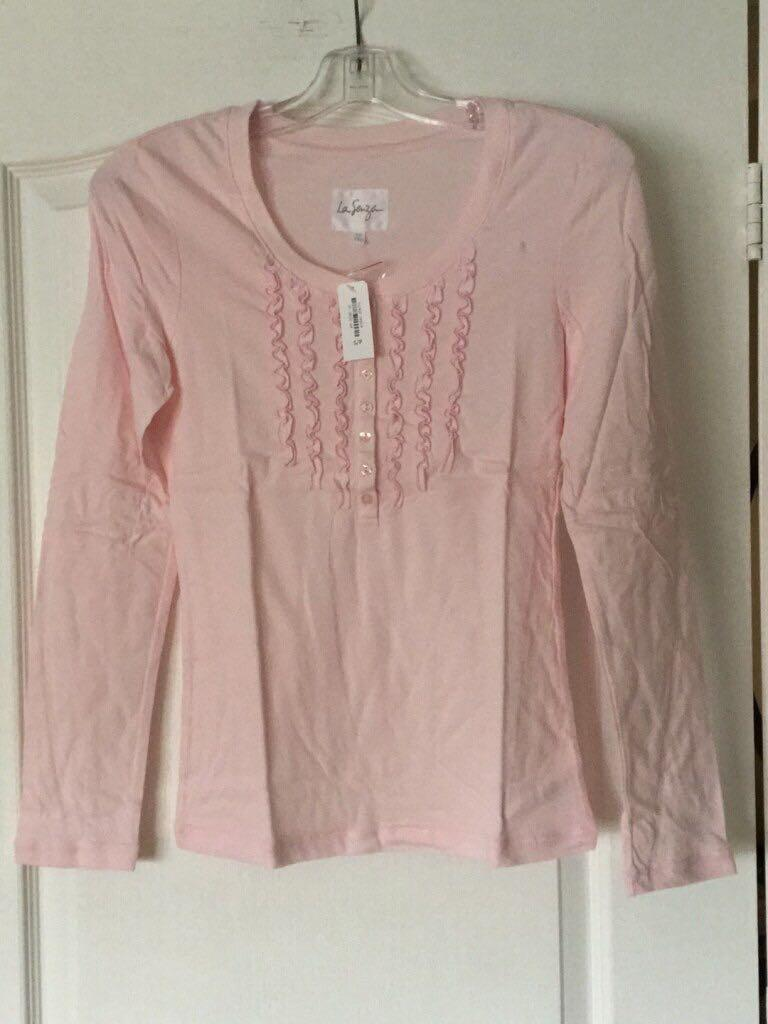 Pink scoop neck long sleeve shirt, size small, from La Senza, new, tag attached.