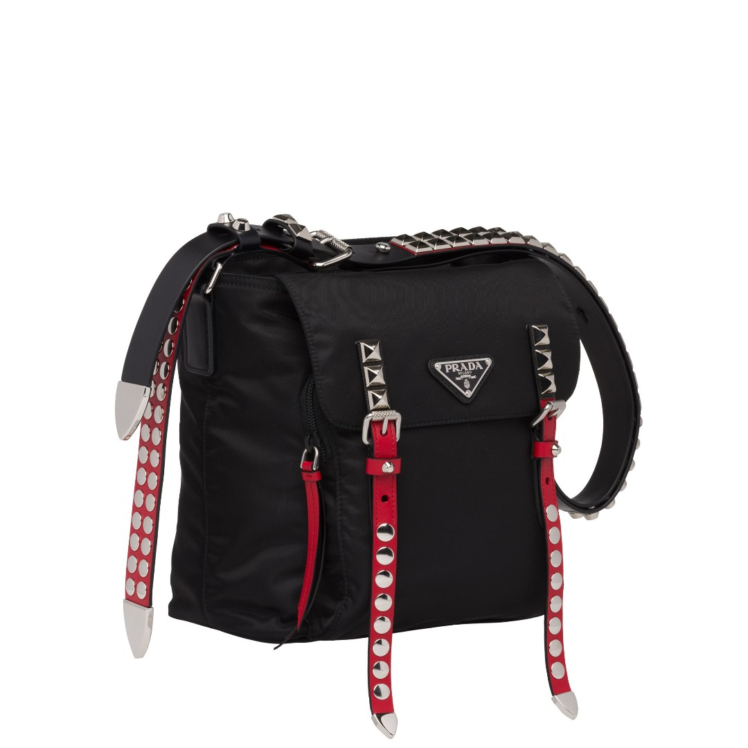b025d7915419 PRADA Black nylon bucket bag with leather and studs, Women's Fashion, Bags  & Wallets, Handbags on Carousell