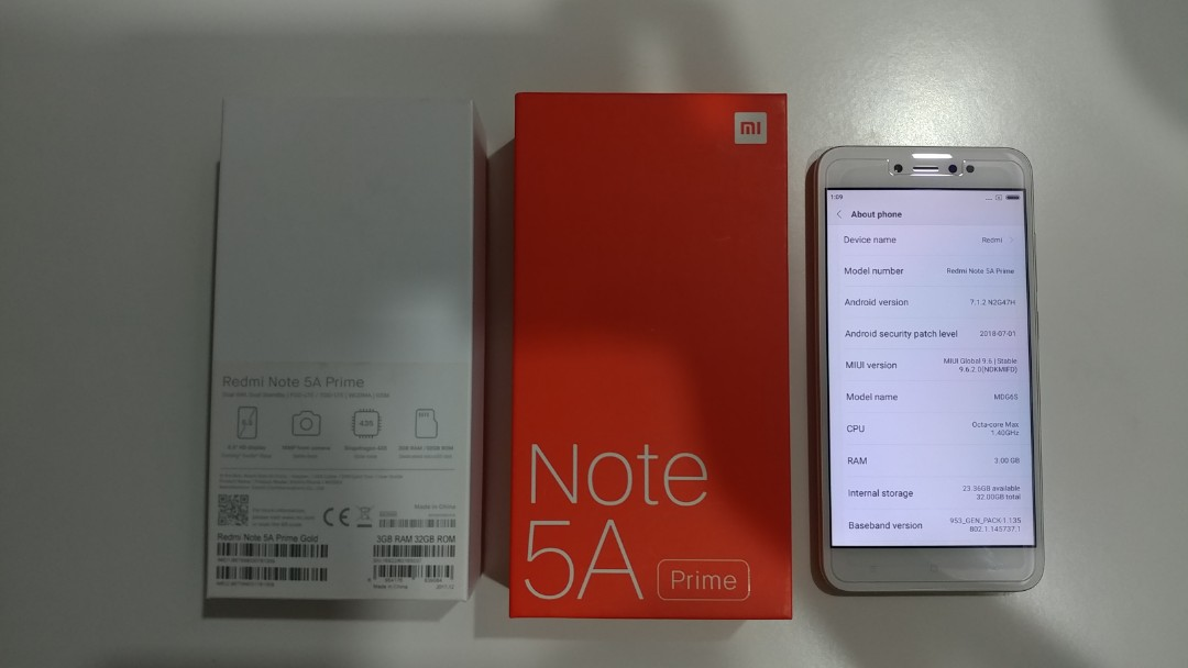 Redmi Note 5A Prime 3GB RAM 32GB ROM (Gold Color)