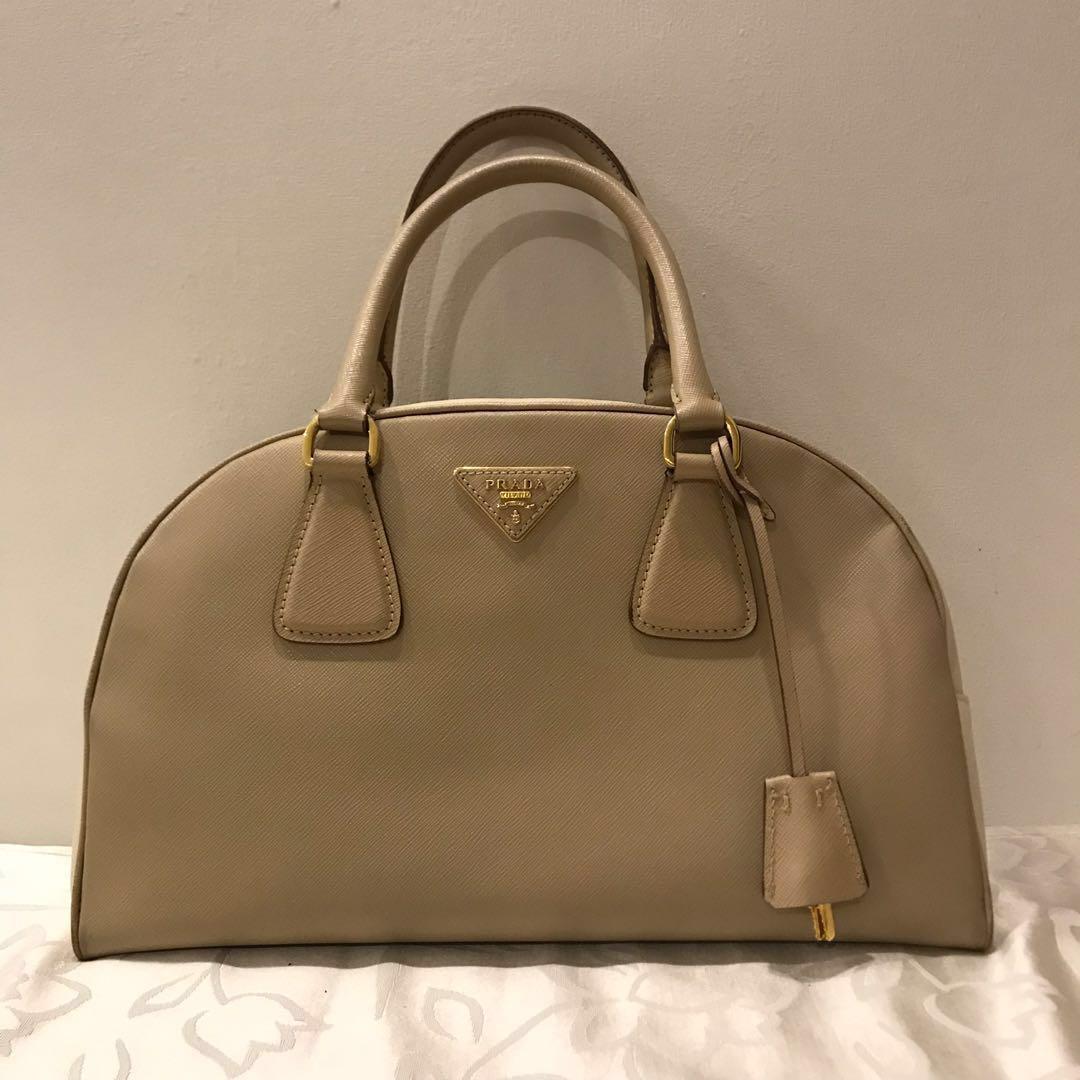 7ff63c63254c 🔥SALE: Prada Beige Bicolor Lux Bowler Bag Saffiano Leather Medium ...