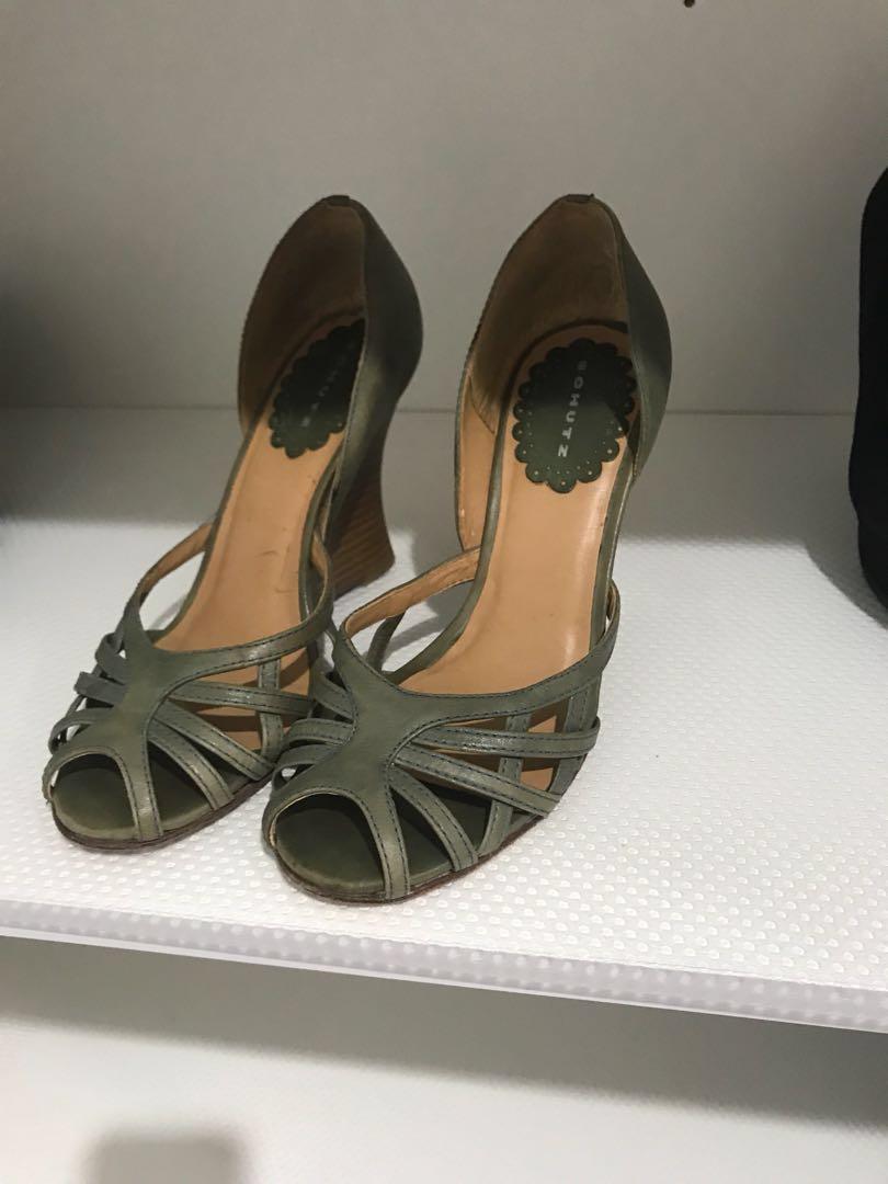 SCHUTZ 100% genuine leather women shoes heels wedge Sz 37