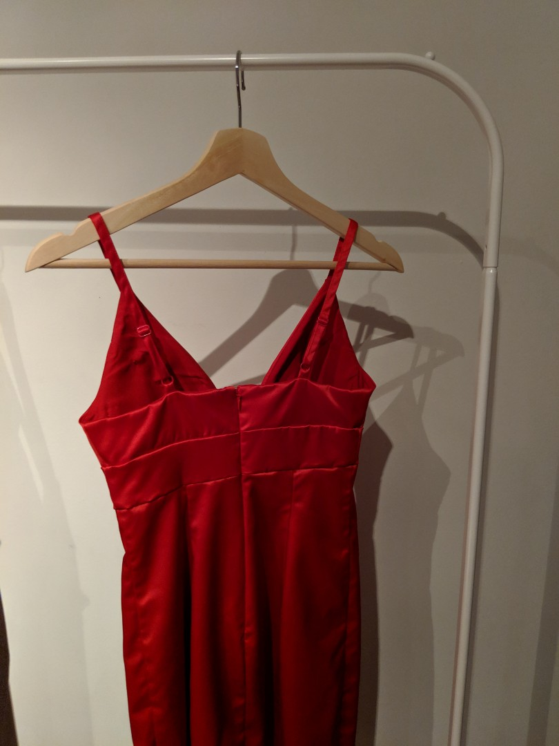 Sexy Guess Satin Red Bodycon Dress with Slit Size 0/2