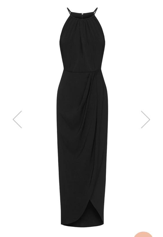 Shona Joy Black Dress - CORE HIGH NECK RUCHED DRESS