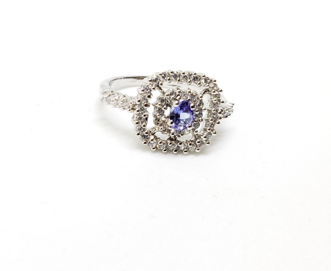 Stunning bluel Tanzanite ring for her, 925 sterling silver, bridal ring, promise ring