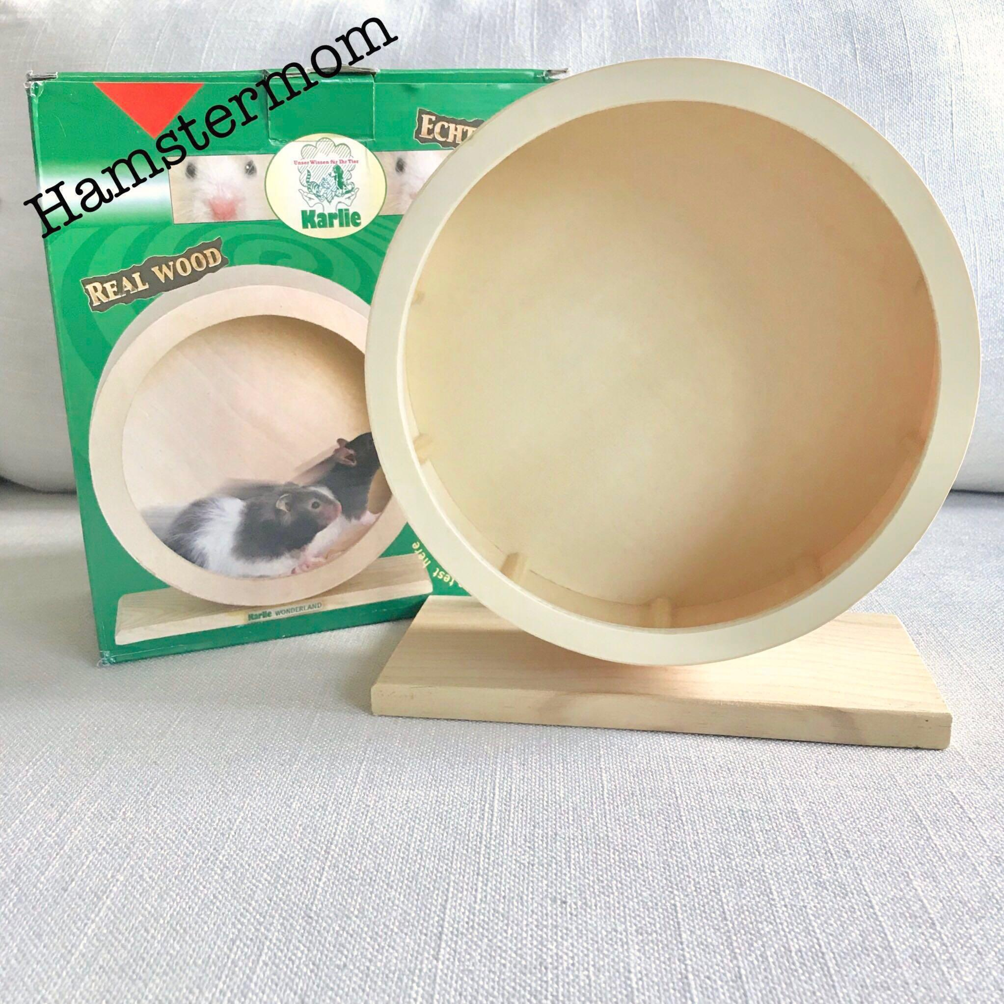 Wooden 20cm Hamster Running Wheel with Stand