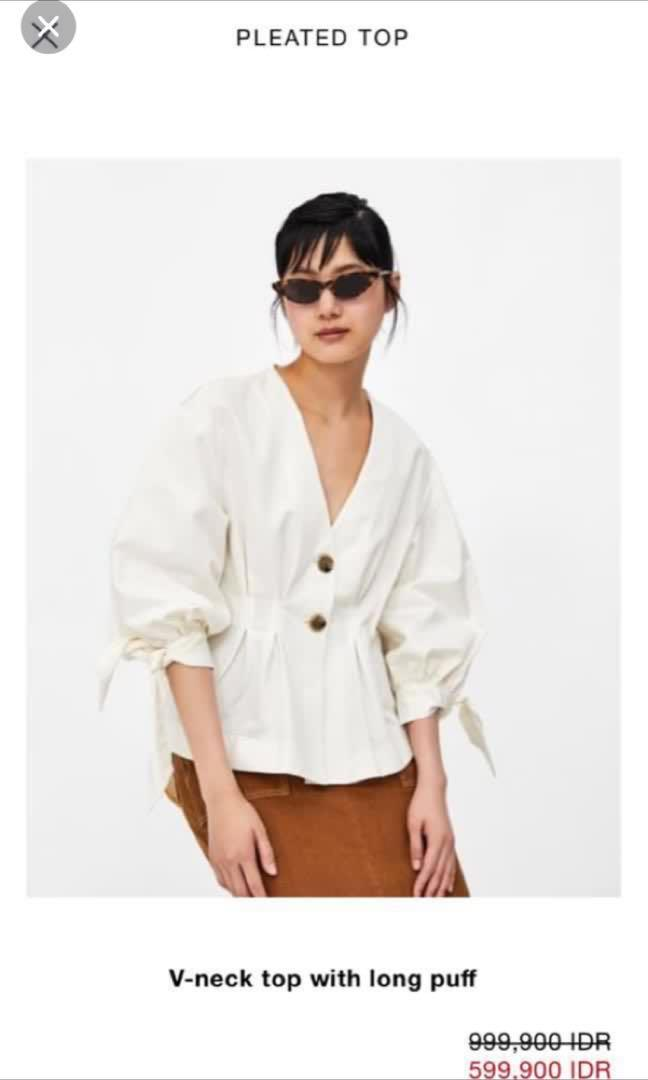 Zara linen puff button top