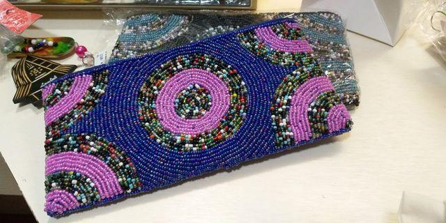 Colourful beads embedded bags/purse
