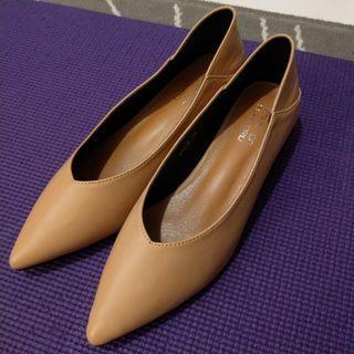 尖頭鞋,杏色,size 40, 高踭鞋