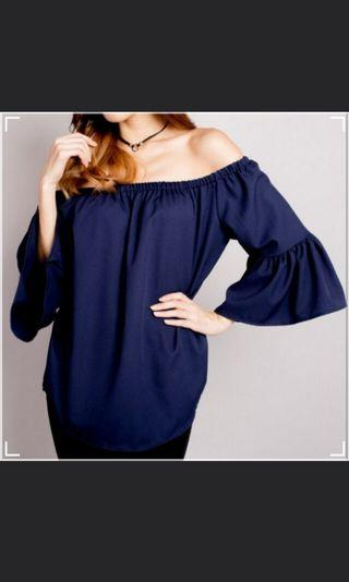 BN Navy Blue Off Shoulder Bell Sleeve top