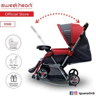 💥NEW💥Sweet Heart Paris Aluminium 2 in 1 Stroller + Rocker Cradle - Red ST230