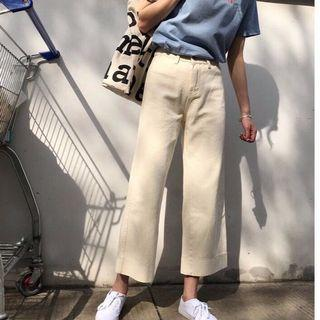 🚚 HIGH WAISTED KHAKI WIDE LEG TROUSERS PANTS *PREORDER*