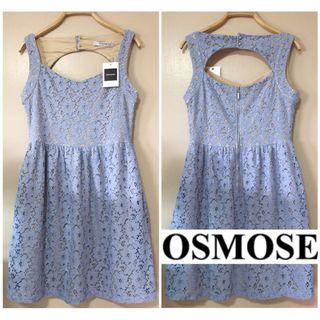 ✨BNWT OSMOSE *PREMIUM*  FLORAL LACE EYELET CUT OUT BACK DRESS IN LAVENDER, Size S Fits Size S/M, UK8/10