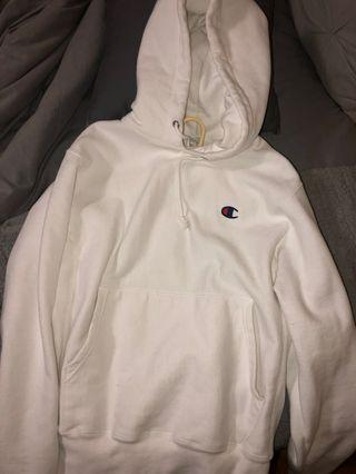 White Champion Hoodie (Men's Small)