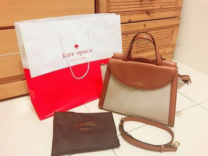 🚚 ♠️ Kate Spade ♠️ 皮革拼色硬殼手提包 肩背包 通勤包(附背帶