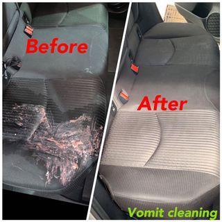 Interior fabric cleaning vomit
