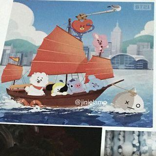 ❣️RARE, Official and Exclusive BT21 ( Line x BTS ) Postcard — Sailing / Day Version — Chimmy, Tata, Shooky, Koya, Mang, RJ, Cooky, Van