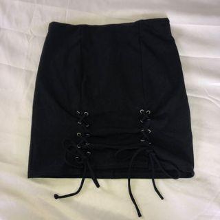 M Boutique Lace Up Skirt