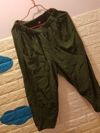 綠色 大 碼橡根 舒適褲