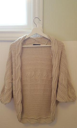 Suzy Shier: Open-Front Batwing Beige Cardigan