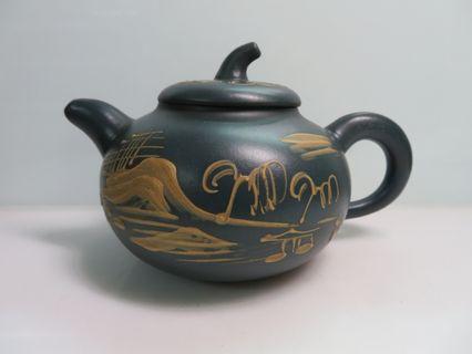 [老茗器]紫砂壺~早期天青泥 南瓜泥繪壺 程壽珍製 單孔出水 400cc